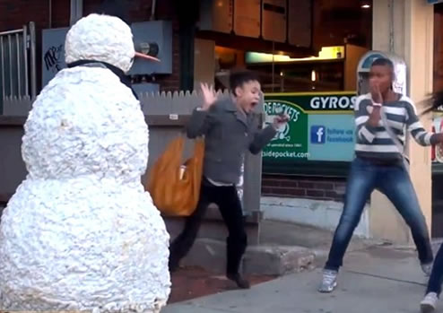Freaky snowman is a person that likes to prank scare random people on the street. Some of the reactions are priceless..lol